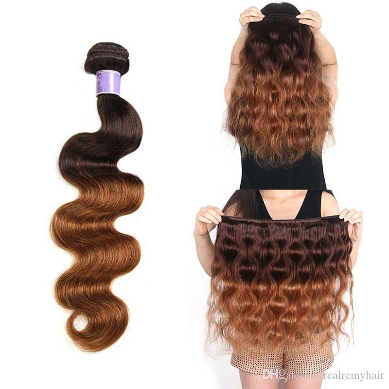 Colored Brazilian Ombre Dunkelbraunes Menschenhaar 3 Bündel Mit Verschluss Two Tone Brazilian 4/30 # Körperwelle Blonde Haarwebart Mit Verschluss
