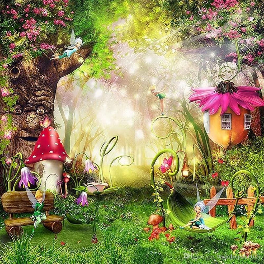 abf92e51efa 2019 Fairytale Wonderland Enchanted Forest Photo Background Old Tree  Flowers Mushrooms Fairies Princess Baby Girl Birthday Party Backdrop From  ...
