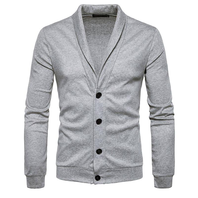 Men Sweatercoat Knitwear Jumper Sweaters Classic Big Boys Knitting Long Sleeve V Neck Shawl Collar Button New Arrival 0605