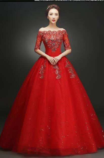 2018 Spitze Elegante Lange Zug Brautkleid Boot-ausschnitt Halbe Hülse Kristall Weiß und Rot Luxus Schwanz Hochzeitskleid Casamento