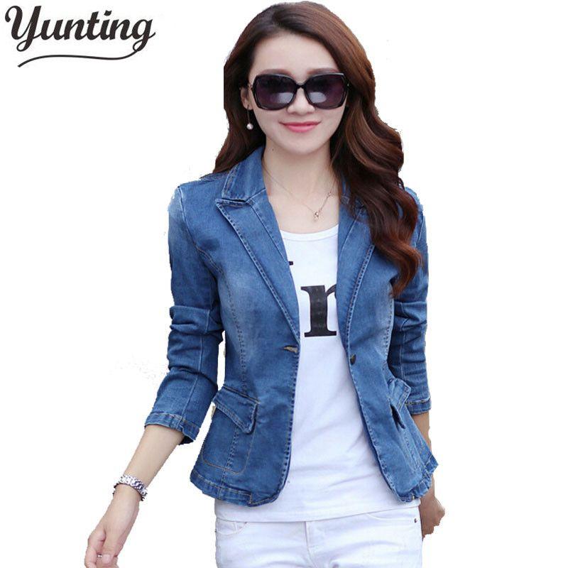 Großhandel Yunting 2018 Frühling Herbst Dünne Jeansjacke Kausalen Blue Langarm  Jeans Jacke One Button Fashion Slim Suit Jackety1882501 Von Zhengrui06, ... 26fcdce657