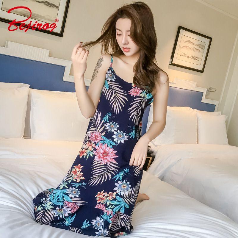 e780c1d951 2019 Bejirog Floral Nighties Women Nightgown Knitted Cotton Nightshirt  Female Sleepshirt Sleeveless Sleepwear Casual Nightwear Summer From Seein