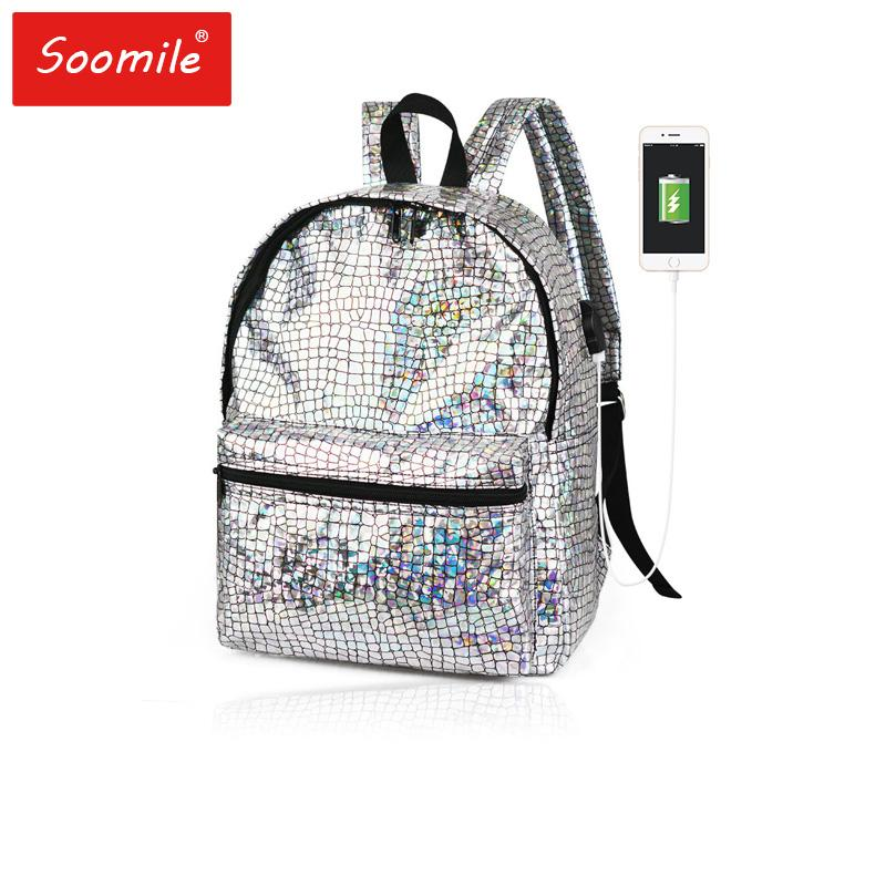 Women Backpack High Quality Multicolor Reflector PU Leather Backpacks  Teenager Female Shoulder Bag Back Pack Bagpack Hydration Backpack Womens  Backpacks ... c477801f065c6