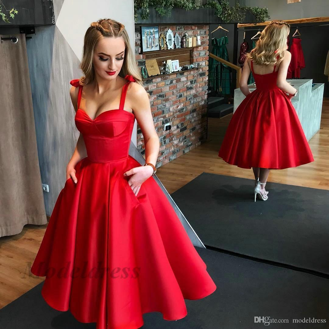 Elegant Red Prom Dresses with Pocket Spaghetti Straps A Line Draped High Quality Satin Sweetheat Tea Length Party Dresses for Dinner