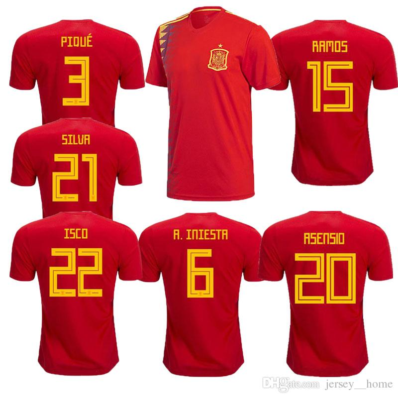 2019 Spain Euro Soccer Jersey 2018 INIESTA RAMOS Home Red Away White  FABREGAS COSTA SILVA ISCO VAXI Top Quality Spain Football Shirt From Jersey   home bfa418cc8