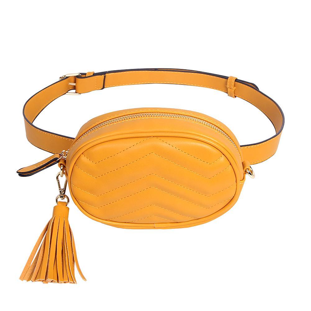 7f2e9f999 Compre Elegante Cinto Sólido Saco De Mulheres Sacos De Cintura De Couro Pu  Ladies Tassel Fanny Packs Femininos Carteiras De Grande Capacidade De  Viagem ...