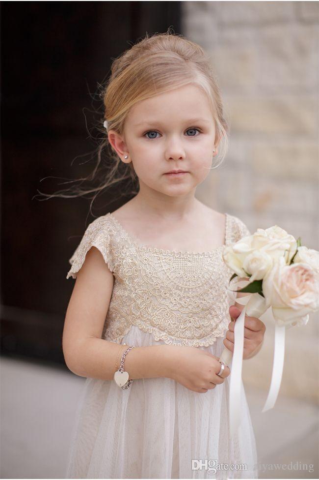 Старинные девушки цветка платья для богемной свадьбы дешевые длина пола Cap рукавом Империя шампанское кружева Слоновой Кости шифон Первое причастие платья