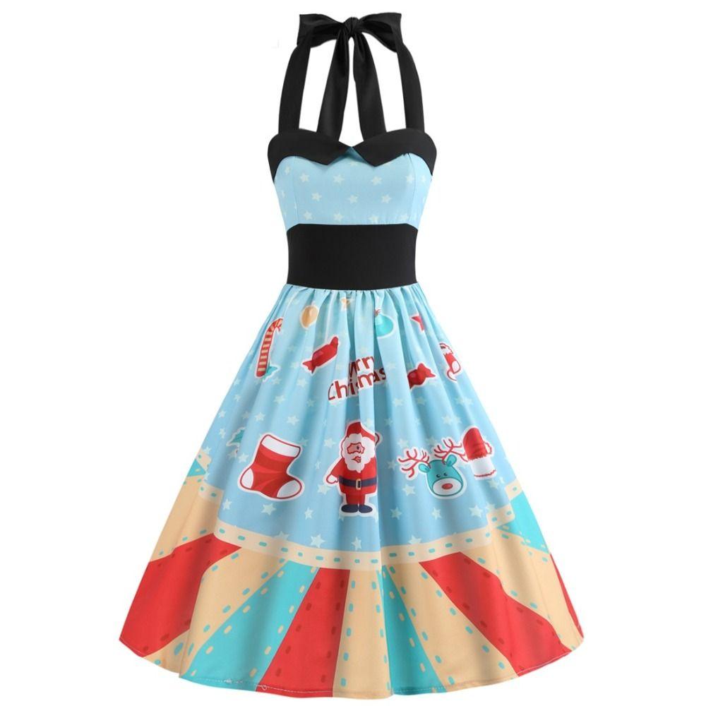 30dfd00f0a6b Dresses Summer Dress 2018 Plus Size XXL Halter Vintage Retro Floral Tunic  Skater Snowman Print Christmas Party Dresses Costumes Cool Halloween  Costumes Cute ...