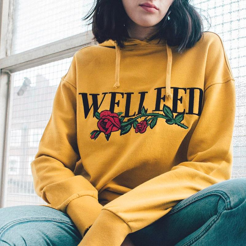 25fa8c511b4 Women Tumblr Yellow Hoodies Sweatshirts Ullzang 2017 Fashion Autumn Female  Oversized Hoodie Floral Printed Harajuku Pullover