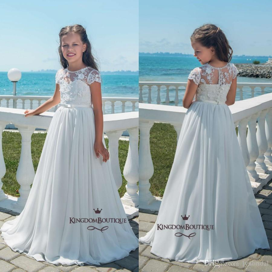 2018 Spring Summer Boho Flower Girl Dresses A Line Cap Sleeves ...
