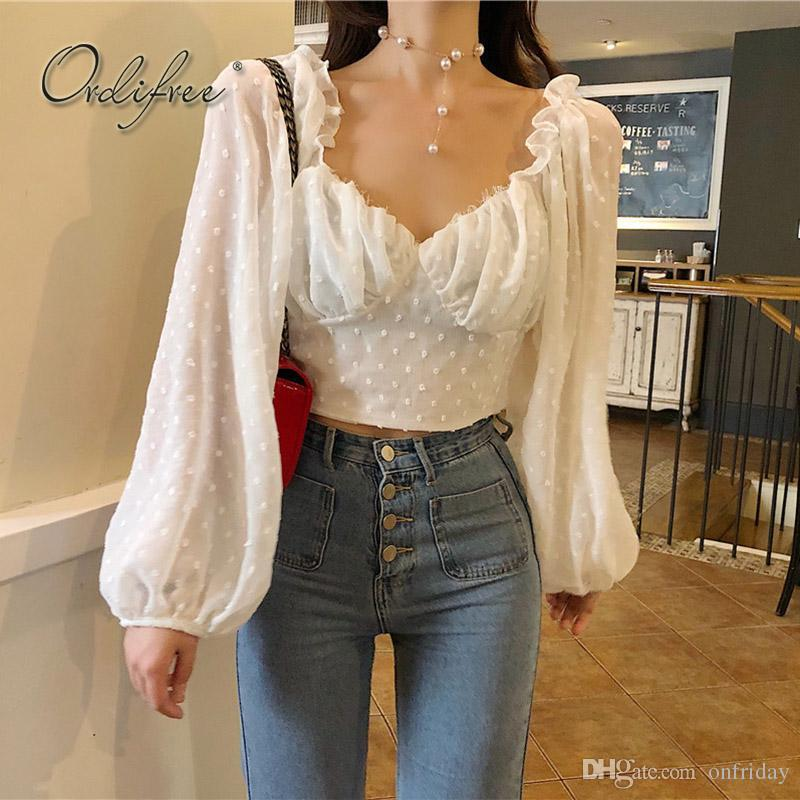 8ec57ee1afd2 Ordifree 2018 Summer Women Chiffon Blouse Shirt Top Long Sleeve V ...