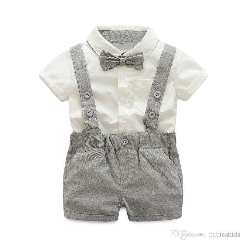 2020 Yeni Yaz Modası Erkek Bebek Gentleman tişört tulumları Pamuk Çocuk Çocuk Giyim Yenidoğan Giyim Setleri 2parça ayarlar Elbiseler