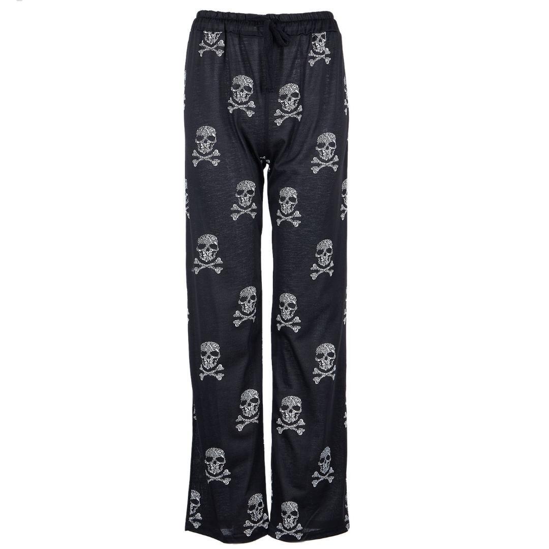 Pijama Cráneo Anchos Pierna Grande Extra La Largos Tamaño Pantalones Del Elásticos Mujer De Ocasionales IWD92EH