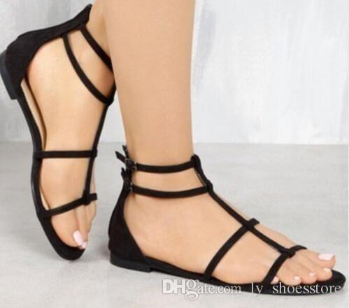 315043e6c2b Compre Sapato Señoras Planas Mujeres Ocasionales De Imitación De Gamuza  Zapatos De Mujer Sandalias De Verano Niñas Femeninas Correa De Tobillo Dedo  Abierto ...