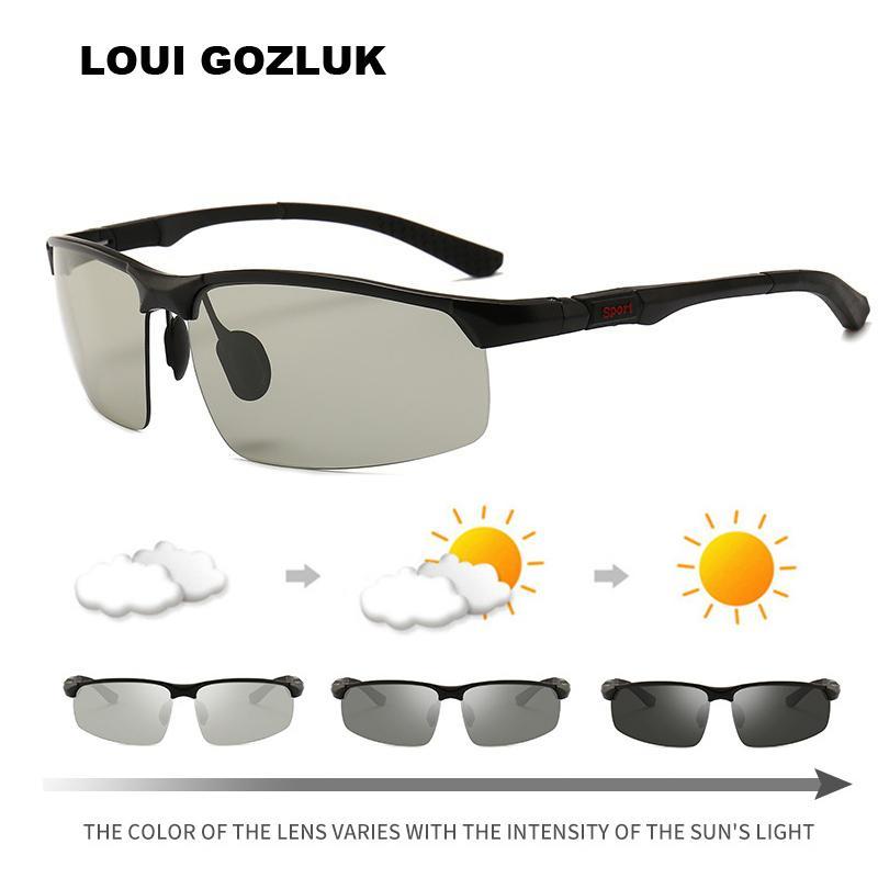 9841a9e5c7 Compre Gafas De Sol Fotocromáticas Para Hombre Gafas De Sol Polarizadas  Para El Hombre Conducción Gafas Del Conductor UV400 Camaleón Lente De Color  Claro ...
