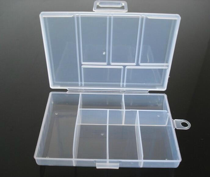 Plastic 6 Slots Transparent Jewelry Adjustable Tool Box Case Craft Organizer Carrying Cases Storage Beads Jewelry Finding Boxes