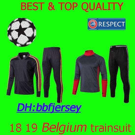 Tailandia 18 19 Camisetas De Fútbol Hazard Camiseta Traje De Entrenamiento  De Bélgica Kit Mertens Lukaku Fútbol Kit De Chándal De Manga Larga Camisas  ... 4a7b14384d107