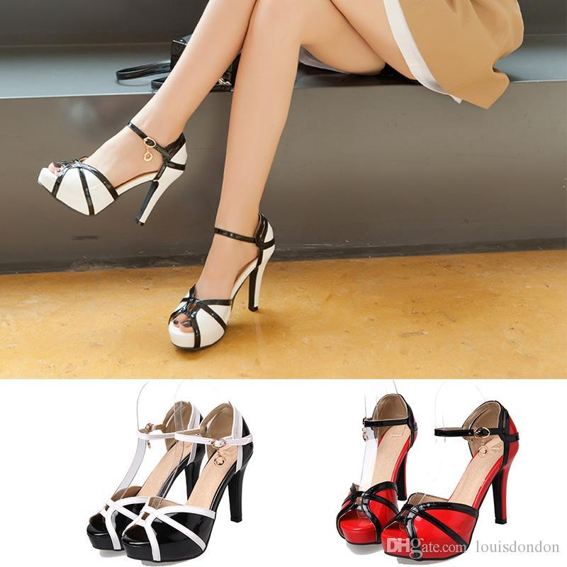 c208e4f2709 Fashion Women S Sandals Peep Toe Platform High Heel Stiletto Patent Leather Stylish  Summer Pumps Ladies Shoes Ladies Shoes Red Shoes From Louisdondon