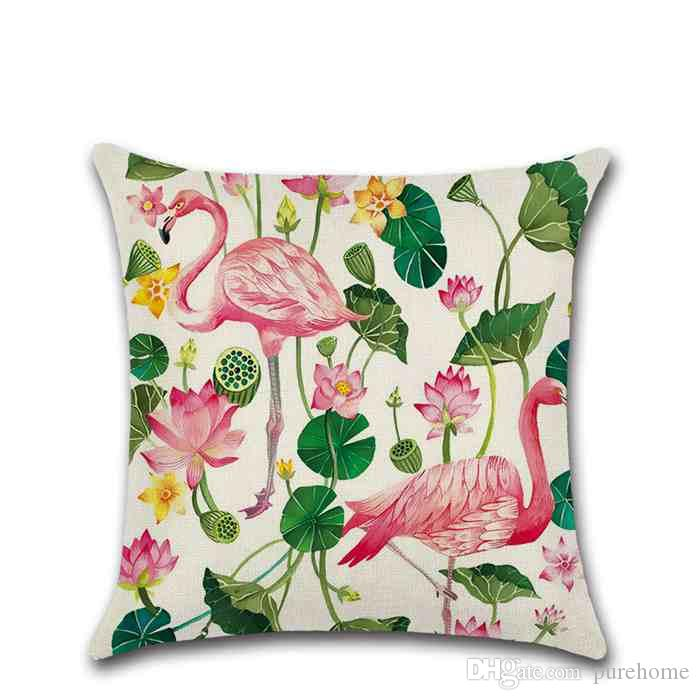 Flamingo and Flower Series Pillowcase Throw Linen Pillow Case Sofa Cushion Cover 45*45CM Home Cafe Office Decor Gift for Housewarming Party