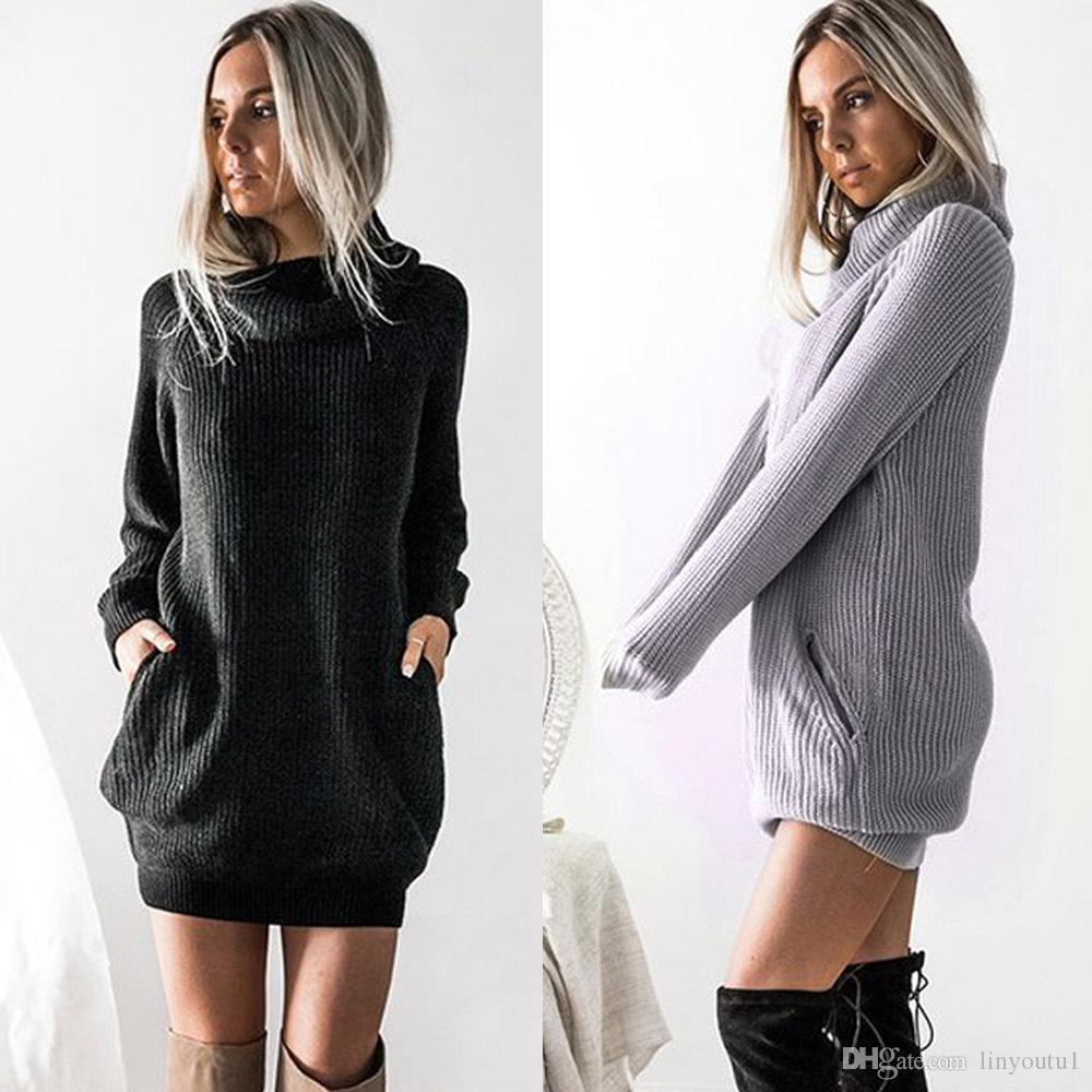2018 New Spring Fashion Women Knitted Dress Casual Streetwear Long ...