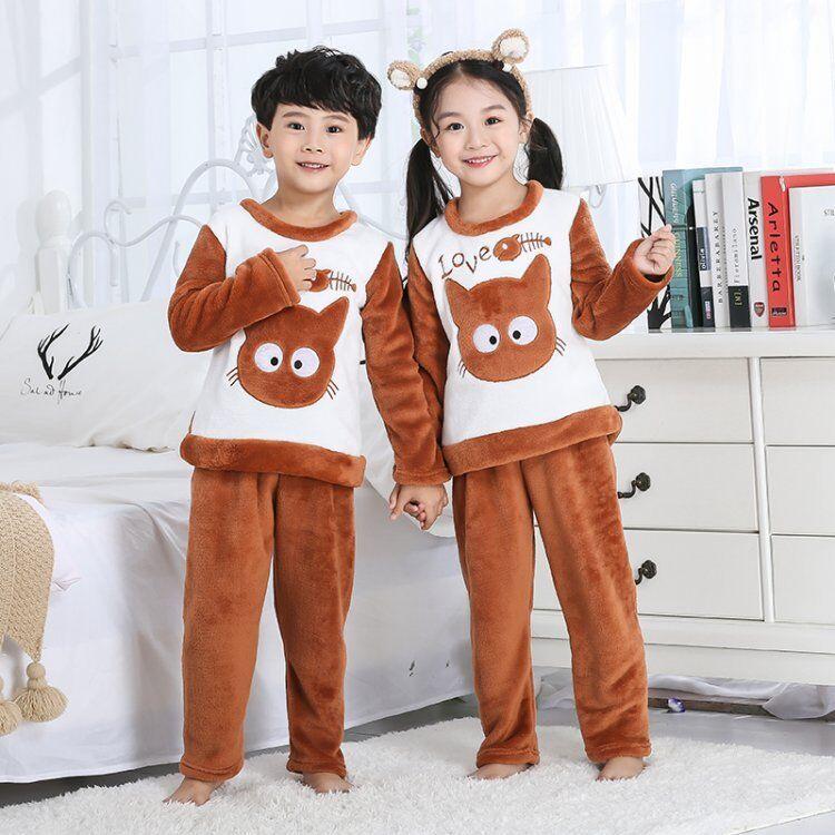 668857ef0 2019 2019 Winter Children Fleece Pajamas Warm Flannel Sleepwear ...