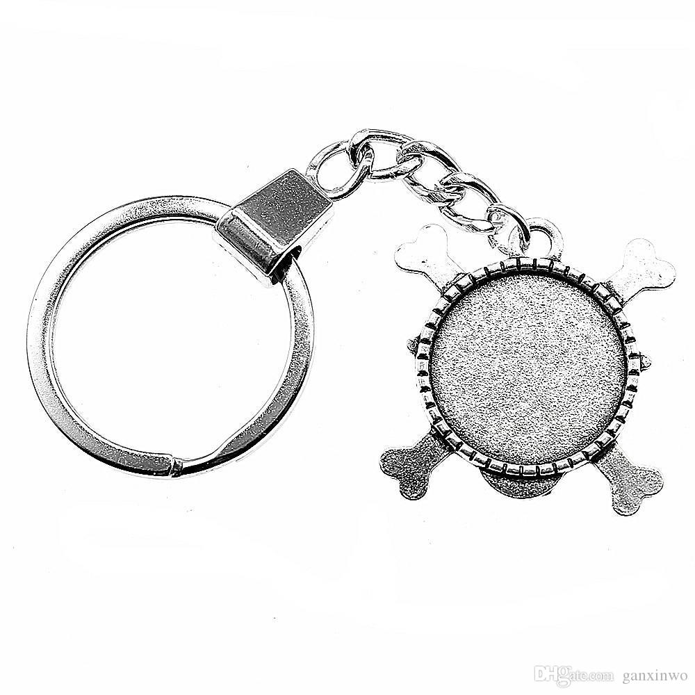 6 Pieces Key Chain Women Key Rings Fashion Keychains For Men Skull Single Side Inner Size 20mm Round Cabochon Cameo Base Tray Bezel Blank