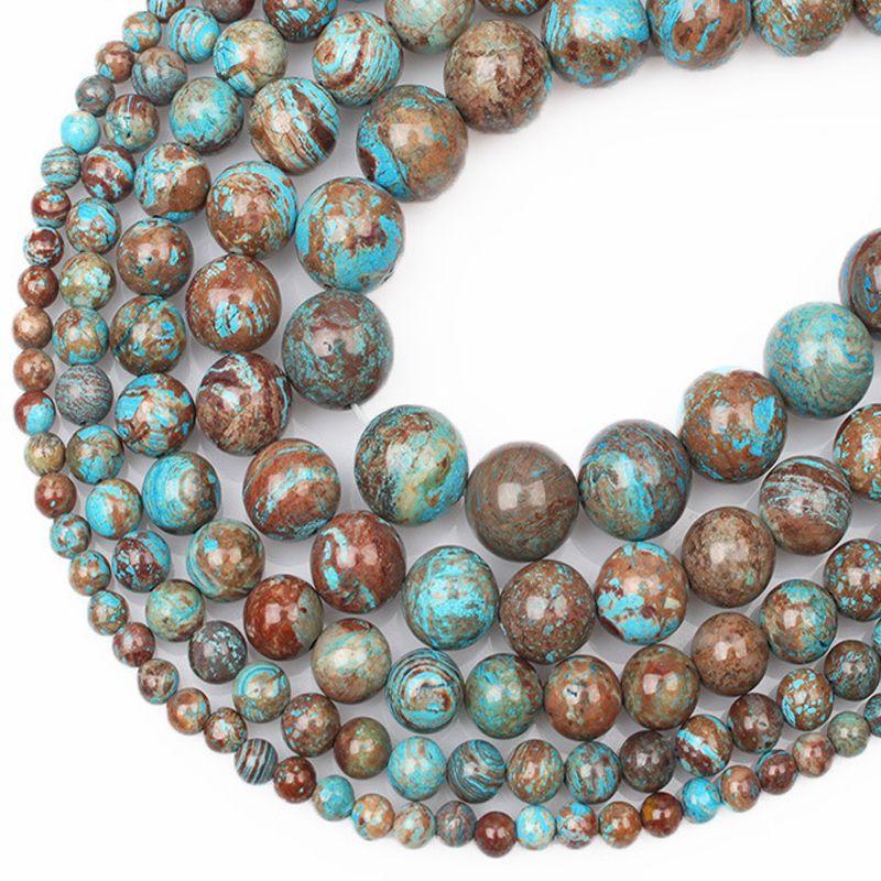 Grosshandel 4 6 8 10 12mm Naturliche Blaue Blume Streifen Achat