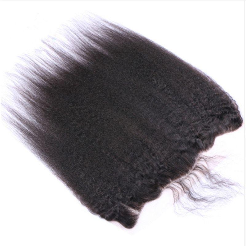 Mongol Grosso Yaki Cabelo Humano Weave Pacotes com Frontais Kinky Hetero 13x4 completa Lace frontal Encerramento com a Virgin Cabelo Pacotes Ofertas