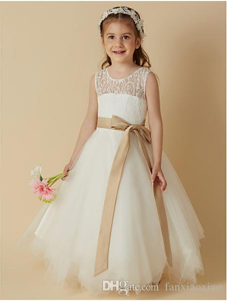 e2953fe1065 HOT Princess Tea Length Flower Girl Dress Lace   Satin   Tulle Sleeveless Scoop  Neck With Ribbon Girls Summer Dresses Outfits For Girls From Fanxiaoxiao