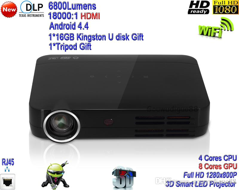2018 New DLP High Brightness 6800 Lumens Home Theater Projector Full HD 1080P 3D WiFi Android 4.4 LAN LED Projector