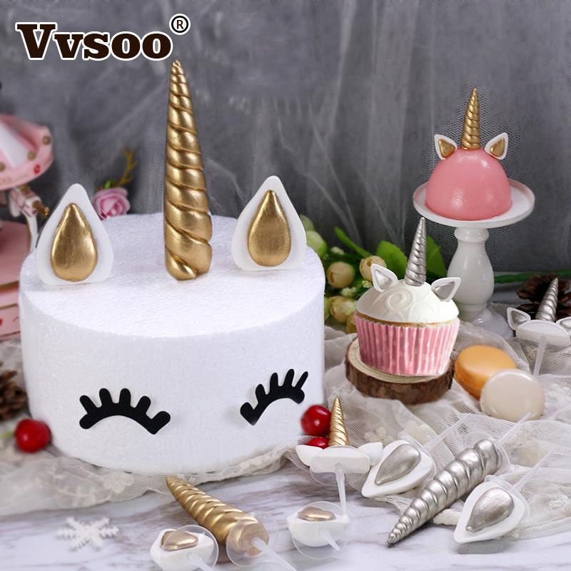 2019 Unicorn Party Decorations Cake Toppers Gold Silver Corner Ears Birthday Cupcake Topper For Baby Shower Supplies From Miniatur