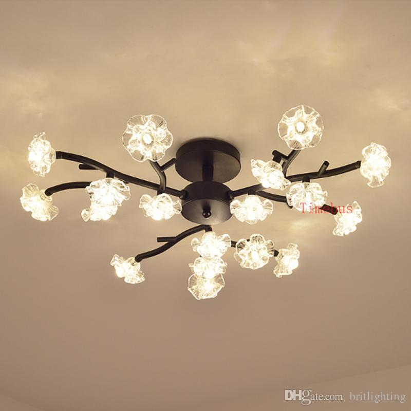 Post Modern Iron Glass Flower Living Room Ceiling Light Restaurant ...