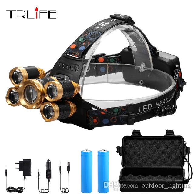 New Fashion Led Super T6 Headlamp 8000lumens Zoomable Headlight Waterproof Head Flash Light Lamp Torch+dc/car Charger+18650 Battery Headlamps