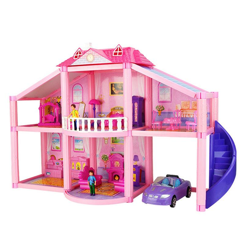 New 3D DIY Family Doll House Dolls Accessories Toy With Miniature Furniture  Garage Car DIY Doll House Toys For Children Gifts Little Doll Houses Dolls  House ...