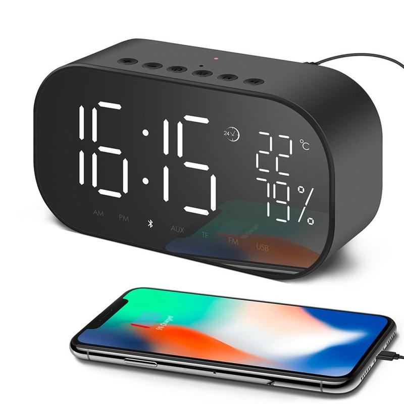dfbf674556f 2019 Digital Alarm Clock Radio Bluetooth Speaker For Bedroom With  Thermometer LED Display Dual Alarm TF Card Slot FM Radio AUX IN From  Assdji