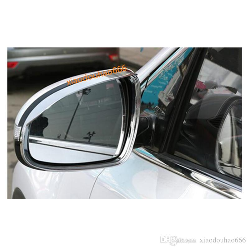 Chrome Rearview Side Mirror Rain Shield Eyebrow Cover Trim For Kia Sportage 2017