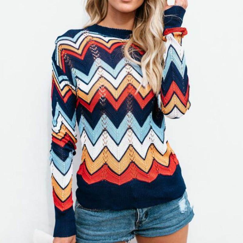 52f3f5e84a1 Large Size Striped Sweater 2018 Commuter Sweater Autumn Winter Rainbow  Stripes Female Knitted Pullovers Online with  45.54 Piece on Bestshirt009 s  Store ...