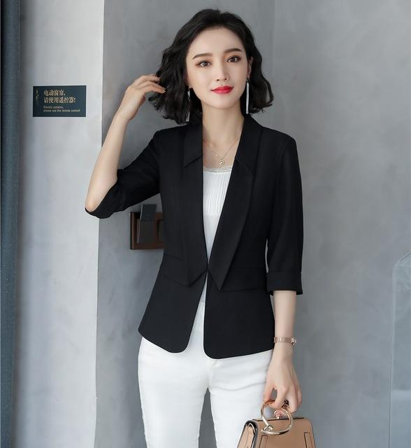 c2516e8f21c 2019 2018 New Style Casual Ladies Black Blazers Women Jackets Half Sleeve  Ladies Work Wear Uniforms Business Clothes Fashion Y1185 From Candd
