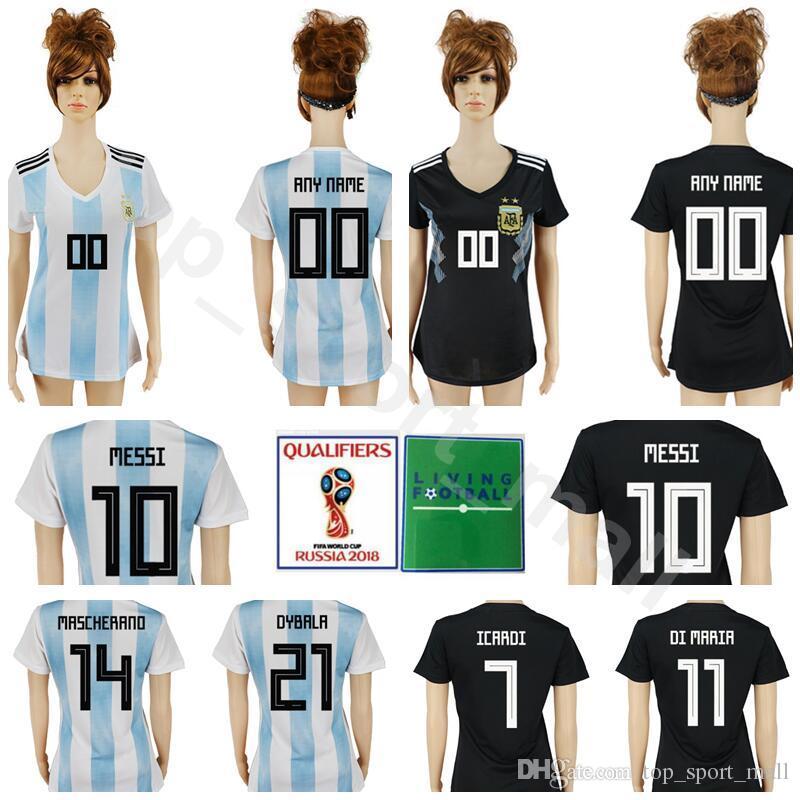 4c8fc6deb Cheap Women Argentina Jersey Soccer 2018 World Cup 10 MESSI 11 DI MARIA 14  MASCHERANO 19 KUN AGUERO 9 HIGUAIN Home White Away Football Shirt Woman