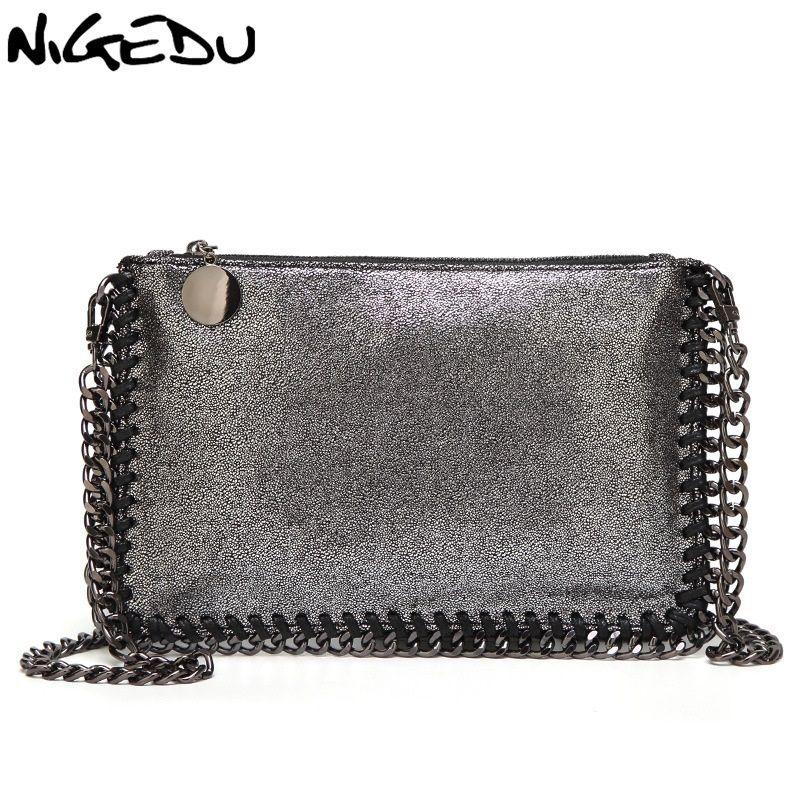 ee7827f398 NIGEDU Fashion Woven Chain Bag Shoulder Bag For Women Clutches PU Messenger  Bag Small Clutch Purse Bolsa Stella Handbags Wallet Y18110101 Handbags  Purses ...