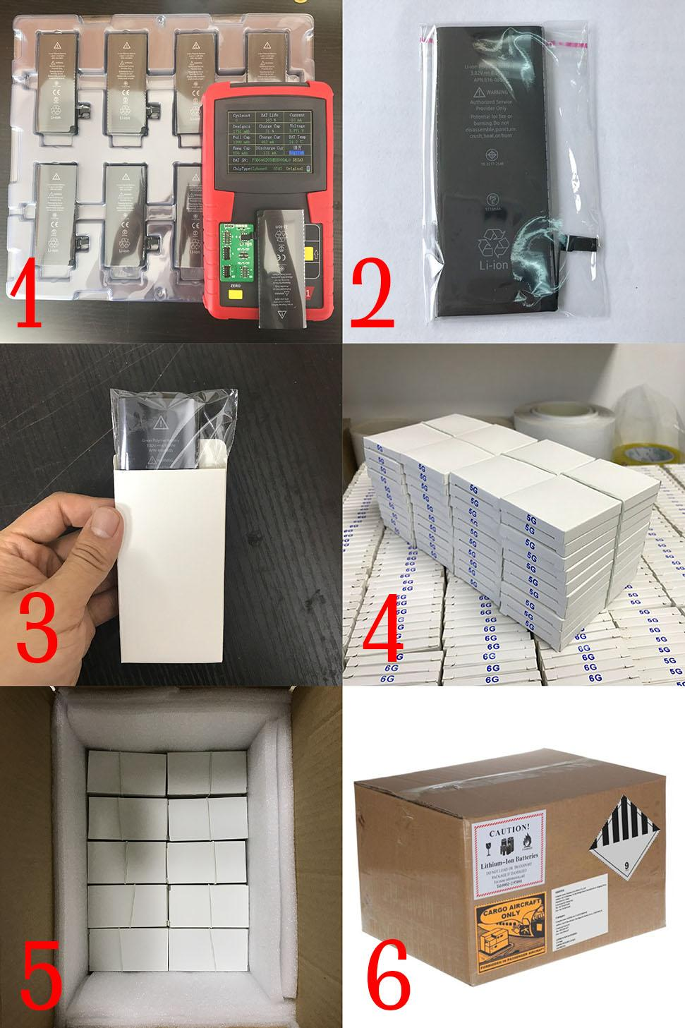 Wholesale 100% New AAAAA High Quality Replacement battery for iphone 4 5g 5s 5c 6g 6s 6plus 6splus 7g 7plus With Package Free UPS Fedex Ship