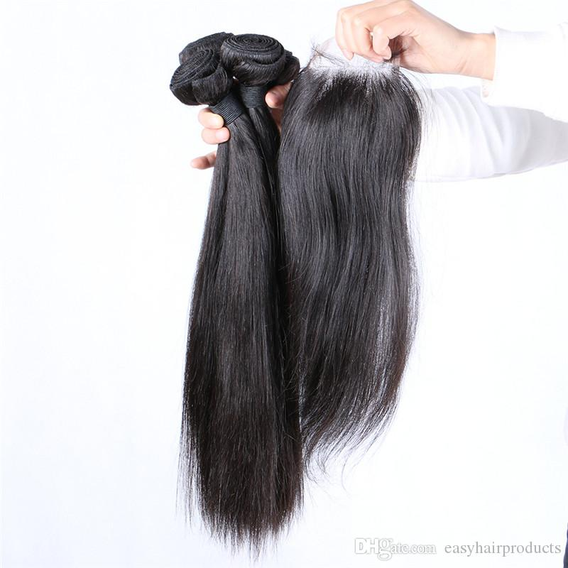 4*4 Straight Lace Top Closure With Human Hair Bundles Brazilian Virgin Hair Weaves Closure