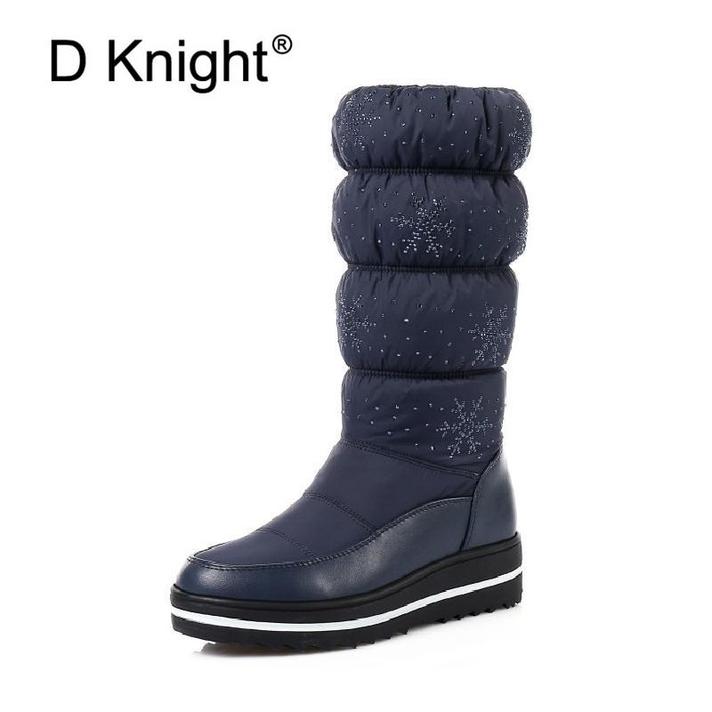 5ca001339ec Big Size 35 44 Women S Snow Boots Hot Winter Warm Plush Students Platform  Shoes Woman Korean Non Slip Comfortable Mid Calf Boots Boots No 7 Bootie  From ...