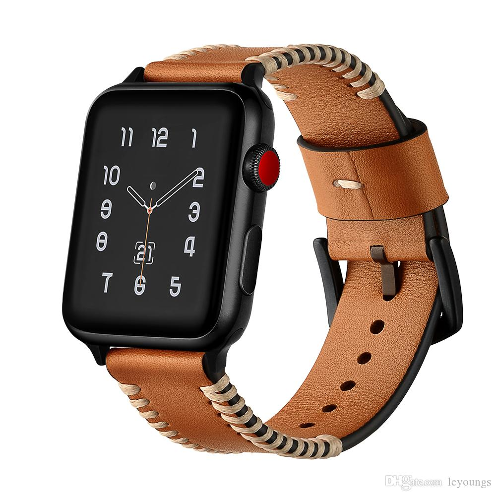 La moda punk de lujo de cuero de vaca cuero correa de reloj de la banda de Apple 38mm 42mm iWatch correa 1 2 3 bandas pulsera de cuero genuino
