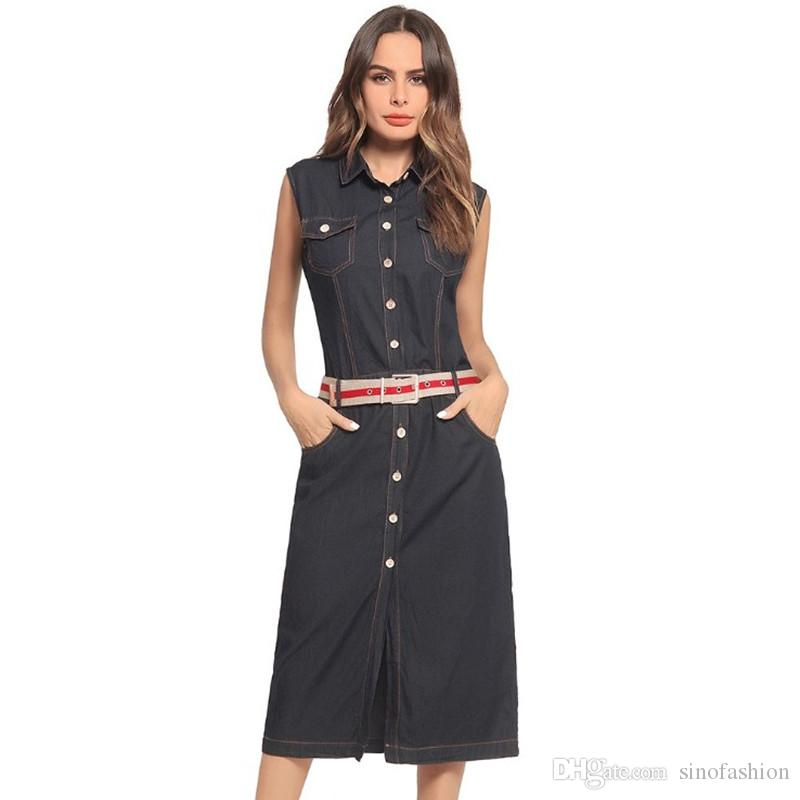 7ebc425750 Denim Outfit Summer Fashion Women Lapel Neck Sleeveless With Pocket Ladies  Work Long Style Jean Dress Purple Dresses For Juniors Party Cocktail Dresses  From ...