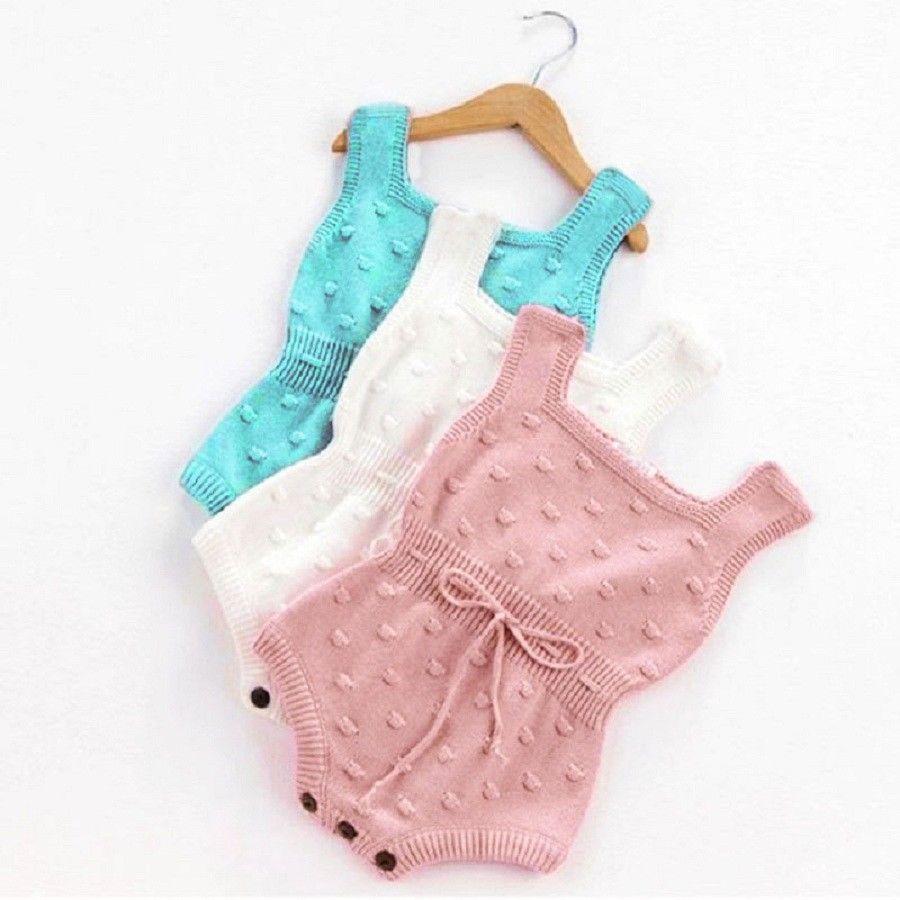 купить оптом новорожденный девочка без рукавов комбинезон вязаный
