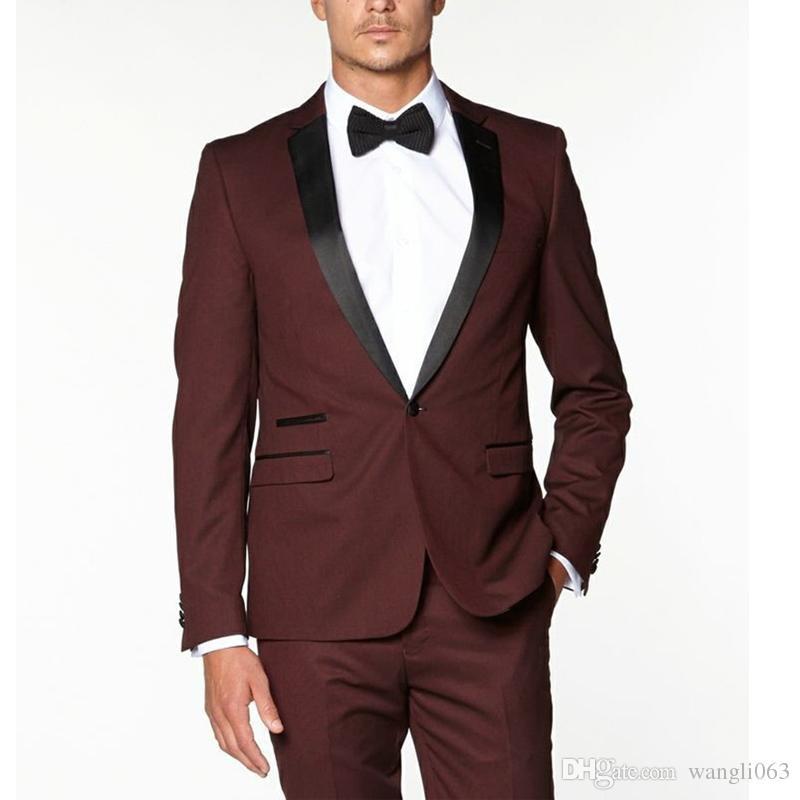 Burgund Trim Fit Männer Anzüge für Hochzeit Bräutigam Tragen 2018 Revers Revers Zweiteilige Business Abend Groomsmen Männer Anzüge Jacke Hosen