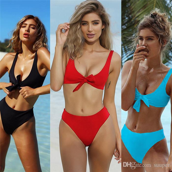 Womens Tie Knot Front Hohe Taille Verband 2 STÜCKE Bikini Sets Beachwear 2018 Sommer Beach Party Bademode Fabrik Großhandel