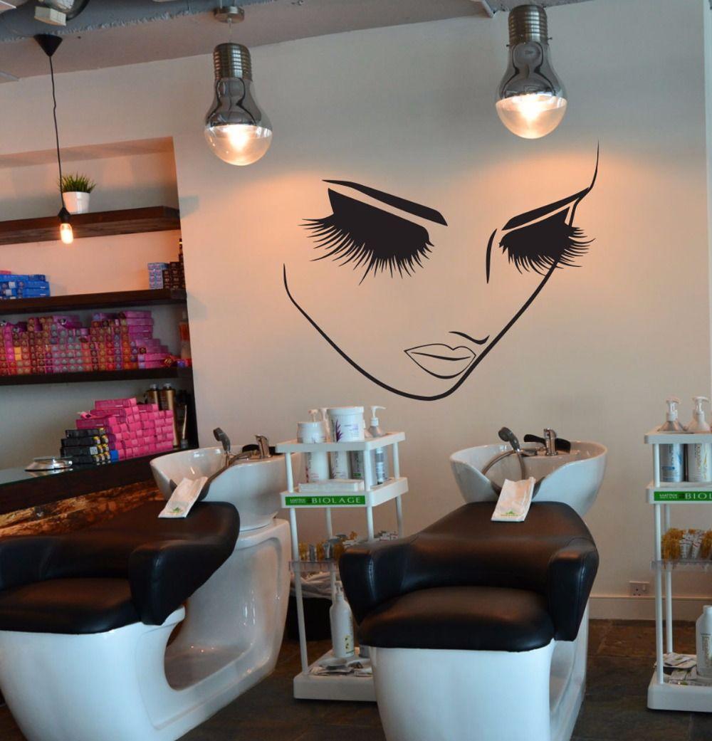 Lashes Makeup Wall Decor Girl Face Beauty Salon Wall Sticker