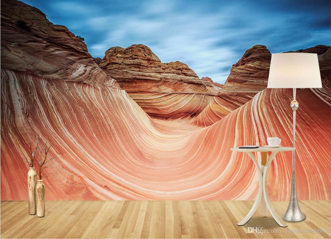 3D stereoskopische Wandbild Tapete Custom moderne Tapete Rock TV Hintergrund Tapeten Wohnkultur
